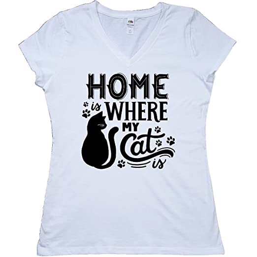 Inktastic Home Is Where My Cats Are With Cat Illustration And Pawprints T-Shirt