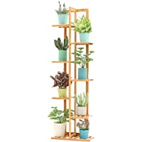 Wooden Flower Stand Plant Display Stand Indoor and Outdoor Flower Stand Garden Balcony 7 Layer Pot Rack (log Color 45cmx22cmx145cm)