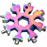 Veizn 18-in-1 Stainless Steel Snowflakes Multi-Tool, Snowboarding Screwdriver Multi-Tool for Opener Key Chain/Bottle Opener/Outdoor Travel Camping/Gift for Men (Multicolor)