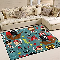 "Aideess Pirates Anchor Skull Non-Slip Area Rug Pad 5'3""x 4', Home Protect Indoor Floors Thick Rug Pad Making Vacuuming Easier"