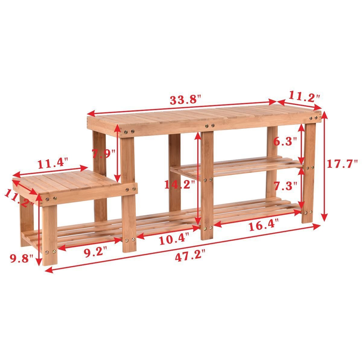 Costway Bamboo 2-tier Shoe Bench Seat Boot Organizing Rack Entryway Storage Shelf With High and Low Levels Entryway Hallway for Adult and Child by COSTWAY (Image #2)