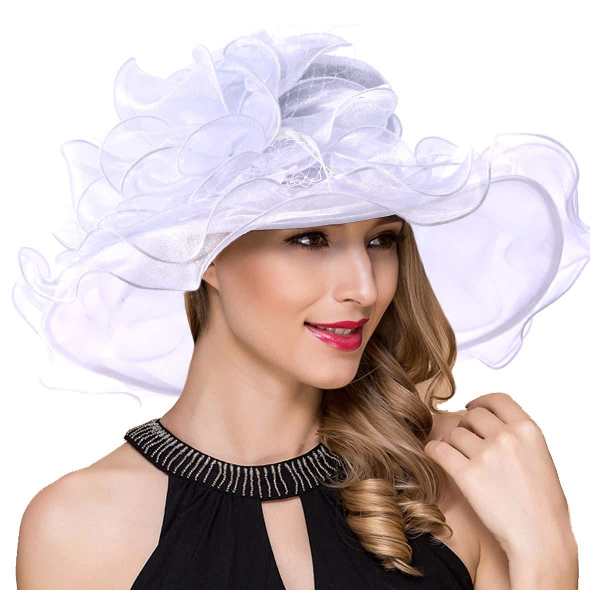 Women Kentucky Derby Church Dress Fascinator Wide Brim Tea Party Wedding Organza Hats S042b (S042-White)