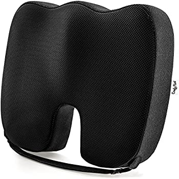 Coccyx Seat Cushion Gives Tailbone Pain Relief - Car Seat Cushion with Strap - Seat Pillow - Office Chair Cushion - Coccyx Pillow - Tailbone Cushion - Soft Premium Memory Foam Provides Luxury Comfort