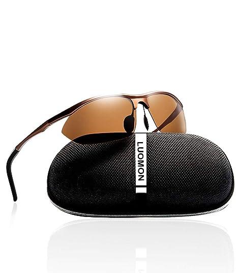 3583467ffb LUOMON LM3129 Brown Frame Brown Lens Polarized Wrap-Around Sport Sunglasses