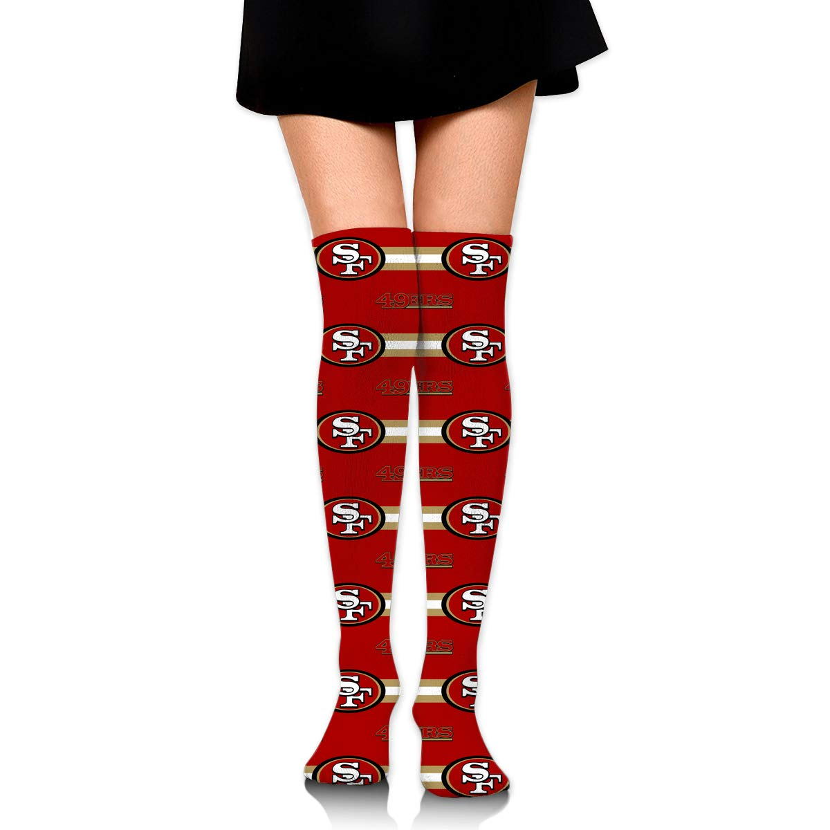 Sorcerer Custom Girls Over Knee High Boot Stockings Leg Warmers San Francisco 49ers Women's Polyester Thigh High Socks Gift by Sorcerer