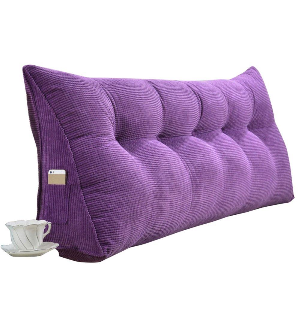 抱き枕 ラージトライアングルピローバックサポートクッションを読む枕として腰部クッションネックピローヘッドボードパッド付きダブルベッドバックレストウォッシャブルリムーバブルカバーファブリック (色 : Purple, サイズ さいず : 200×50×20cm)   B07FNC77RP