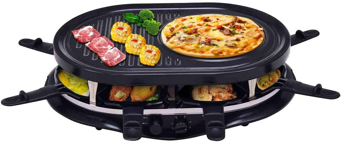 Costzon Raclette Grill for 8 People w Indicator Light, Adjustable Temperature Knob, Includes 8 Paddles and Spatulas, Non-Stick Grill Plate