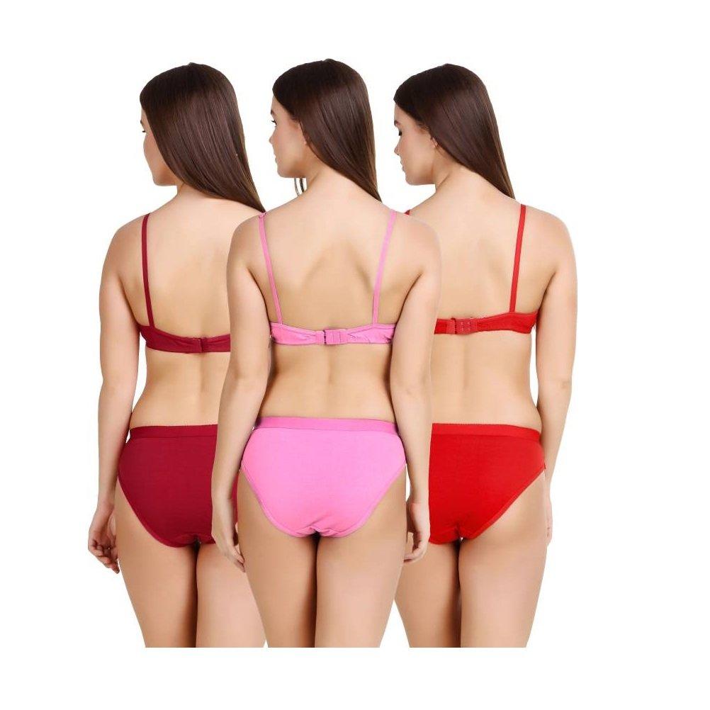 Hakimi®Multi Color print Set Of 3 Women s Bra   Panty Sets Combo   Amazon.in  Clothing   Accessories 7de872e36