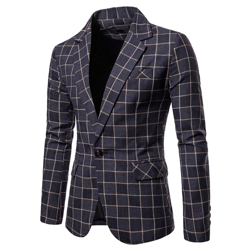 Mens Classic Blazer Plaid Party Wedding Jacket Suits Elegant Slim Fit Autumn Winter One Botton Vintage Retro Smart Formal Business Dinner Suits Jacket Waistcoat Size M-XXXL