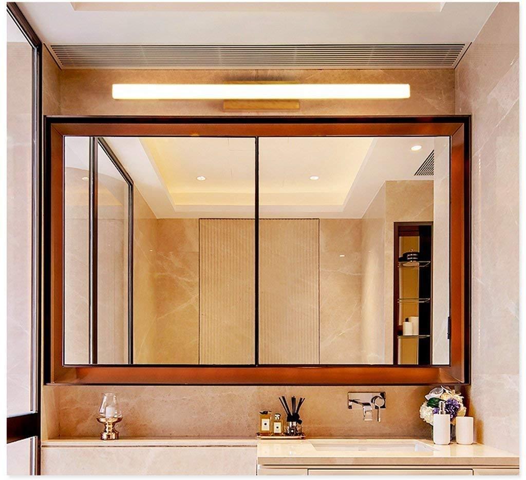 Irinay Spiegel Kabinett Spezielle Lampen Nordisches Festes Badezimmer Toiletten Holz Spiegel Kabinett Licht Spiegel Kabinett Wasserdichte Wand Licht (Farbe   Warmes Licht-60Cm-Größe)
