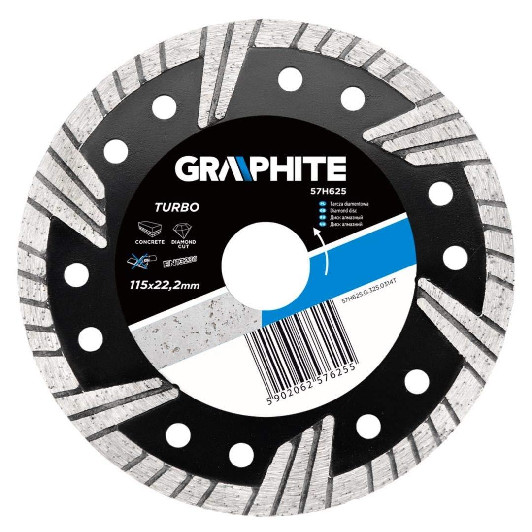 Graphite professional turbo diamond disc blade 115x22.2 wet & dry cutting (GRA 57H625)