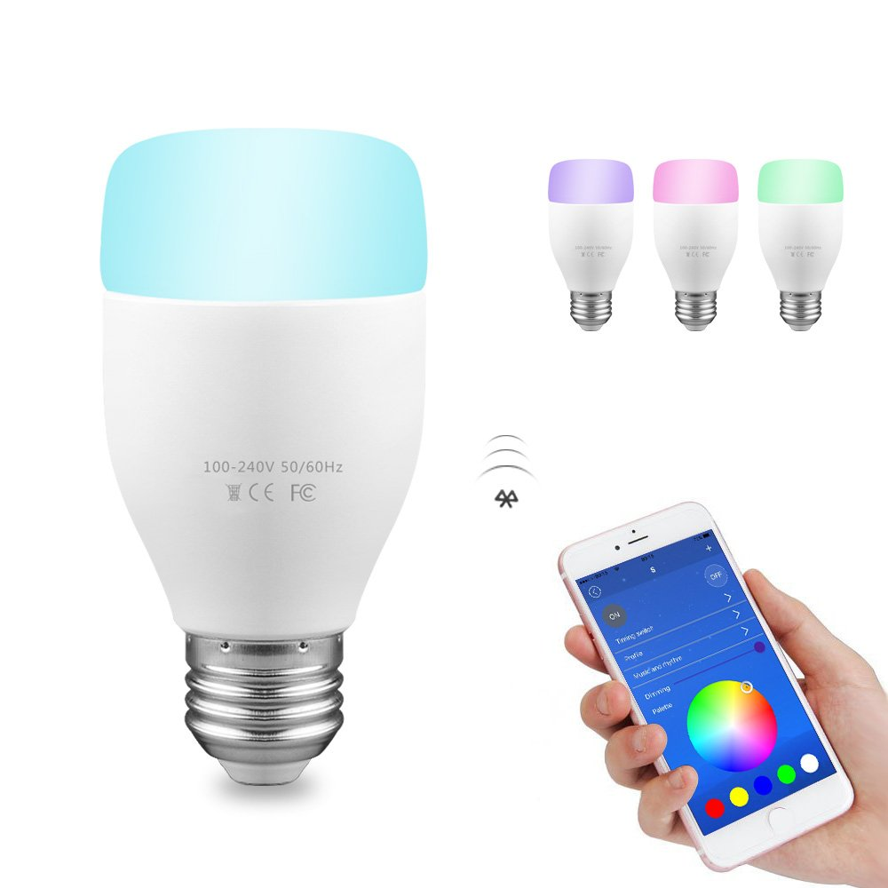 Smart Led Glhlampe Wifi Lampen Amazon Echo Kontrolle 6w E27 Philips Bulb 13 Watt 6500k Paket 3 Gratis 1 Rgb Lampe Remote Control Kompatibel Mit Alexa Und App Fr Android Ios