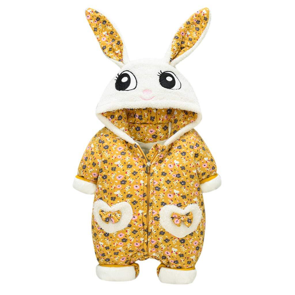 Lovely Ears Hooded Romper for Baby Girls Boys Thicken Onesie Snowsuit Bodysuit - Animal Dinosaur,Rabbit, Tiger Jumpsuit by Franterd