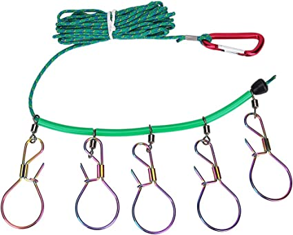 Useful Fishing Stringer Clip With 5//10 Lock Fish Lock Stainless Steel Rope SH