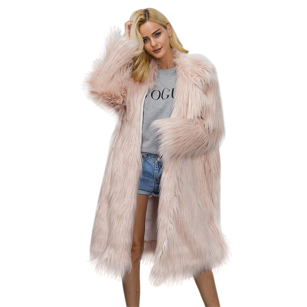 iBaste Women's Winter Warm Fluffy Faux Fur Jacket Coat with Invisible Buttons BE00054