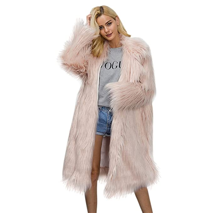 e98a3ec619d8 iBaste Women's Winter Warm Fluffy Shaggy Long Faux Fur Jacket Coat with  Invisible Buttons Pink