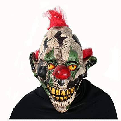scary clown mask halloween party costume decorations creepy latex mask for adults pointed ears ghost