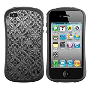 Paccase / Suave TPU GEL Caso Carcasa de Protección Funda para - Grey Gray Checkered Wallpaper Pattern - Apple Iphone 4 / 4S