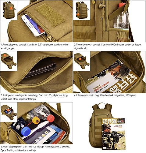 68000632468a Huntvp 10L Mini Daypack Military MOLLE Backpack Rucksack Gear ...
