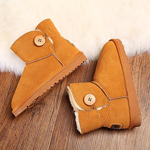 Women 's winter snow boots cowhide Button boots warm hairy fluffy cotton shoes ( Color : Brass , Size : US:7.5\UK:6.5\EUR:40 )