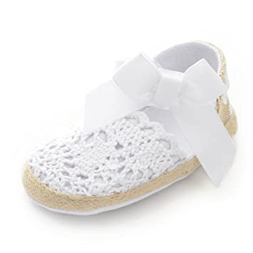 Amazon.com : Itaar Baby Girls Shoes Crochet Knit Soft Sole Bow First Walker Toddler Sandals (0-6 Months, White) : Baby