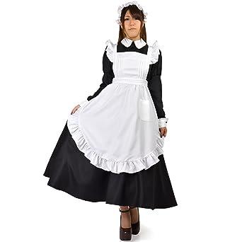d099f8e3389 クラシカル ロングメイド服 長袖 ロング丈 コスプレ 衣装 レディースサイズ Mサイズ