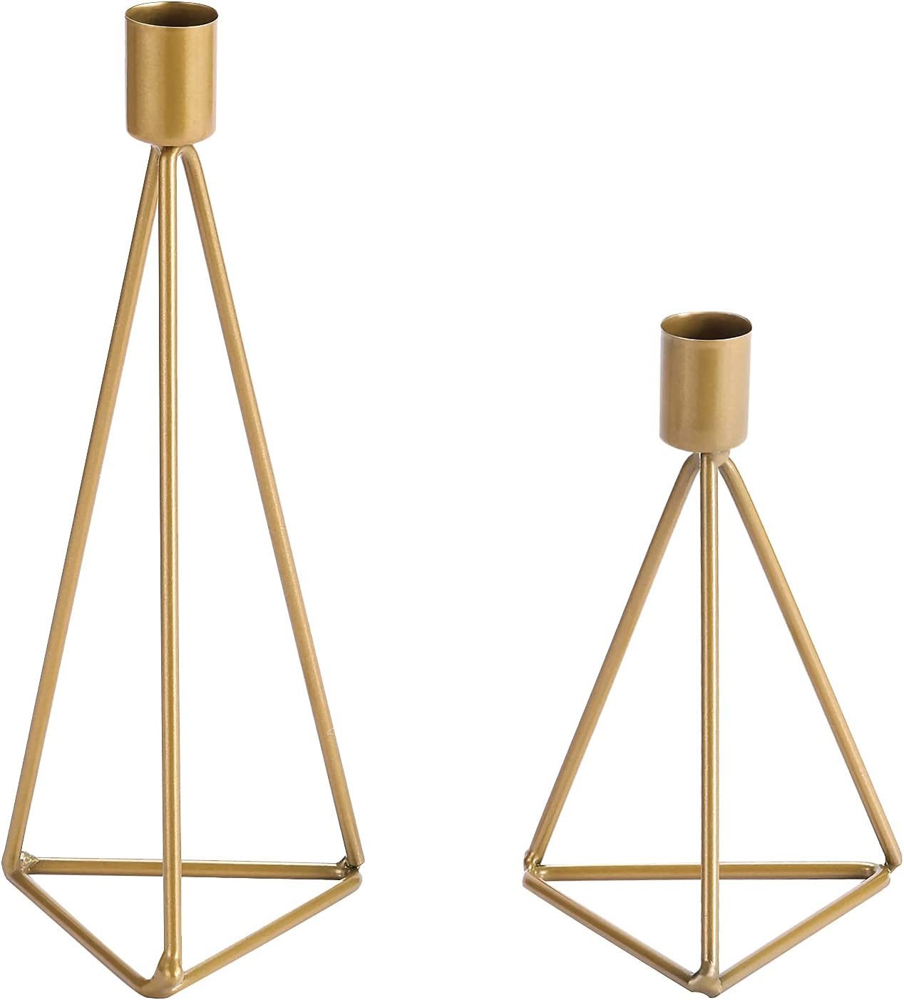 HUANGXIN Gold Candle Holder Triangle Candlestick Set of 2 for Taper Candles Home Decorative Candles Stand for Wedding Dinning Party Birthday