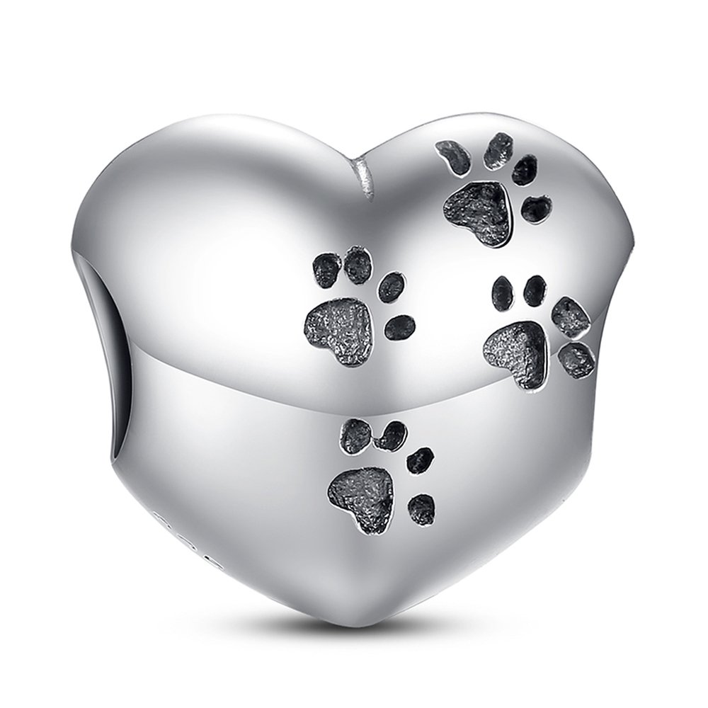 Everbling Dog Puppy Pet Lover Paw Print Heart 925 Sterling Silver Bead Fits European Charm Bracelet (My Sweet Pet)