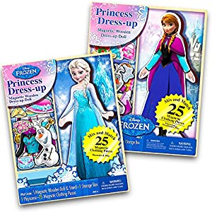 Disney Frozen Elsa and Anna Collection -- Set of Two 25-Piece Wooden Magnetic Doll Dress-Up Kits (Elsa & Anna Combo)