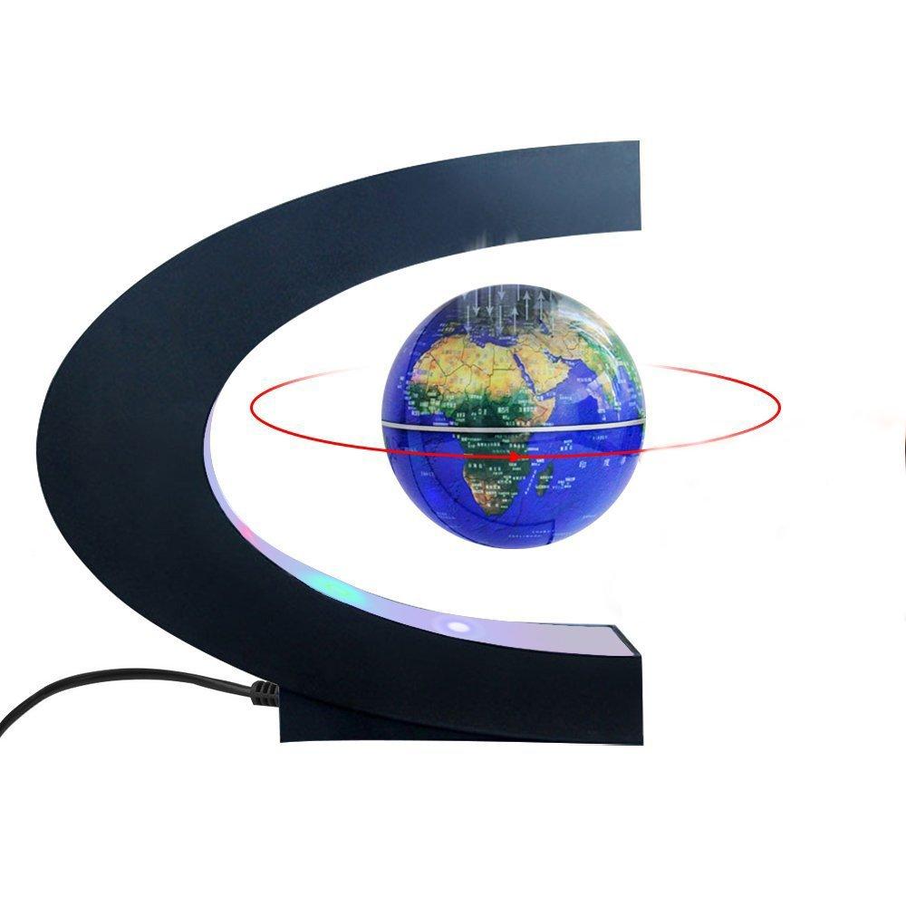 Magnetic Levitation Floating World Map Globe with C Shape Base, 3'' Rotating Planet Earth Globe Ball Anti Gravity LED Light Lamp- Educational Gifts for Kids, Home Office Desk Decoration (Dark Blue) by gerleek