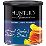 Hunter's Gourmet Hand Cooked Potato Chips Sea Salt & Crushed Black Pepper - 40gm