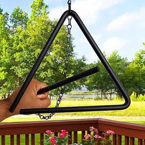ABC Products - Heavy Tempered Steel - Triangle Chuck Wagon - Dinner Bell - Hung by A Chain - (Black Powder - Coated Finish -Outdoor Or Indoor Use)