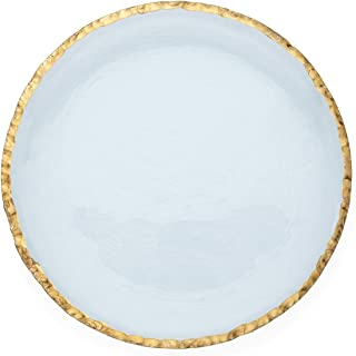 """product image for Annie Glass Edgey Gold Charger plate 12"""" round platter #e108g"""