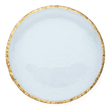 Annie Glass Edgey Gold Charger plate 12  round platter #e108g