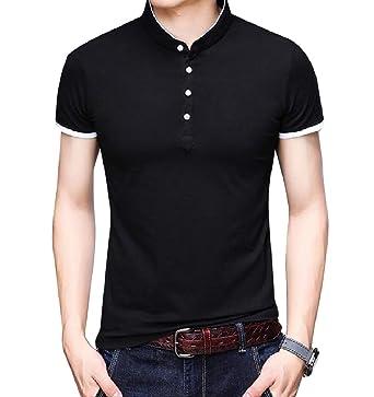Andopa T-top de la camisa delgada de manga corta cuello alto blusa ...