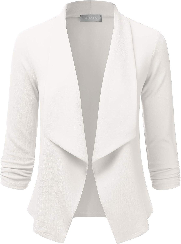 S-3XL EIMIN Womens 3//4 Sleeve Blazer Open Front Office Work Cardigan Jacket