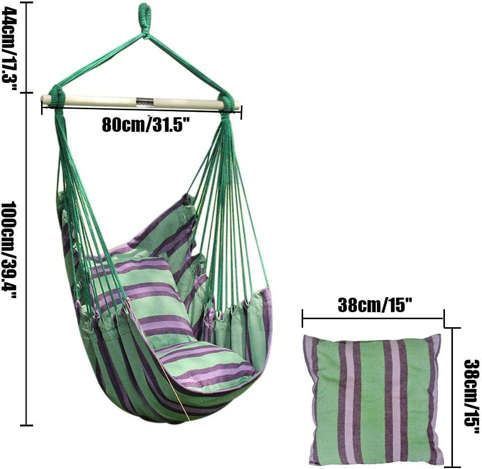balanc/ín de jard/ín con dos cojines para interiores y exteriores Juego de hamaca colgante de jard/ín ANPI hamaca de cuerda Hot Colors