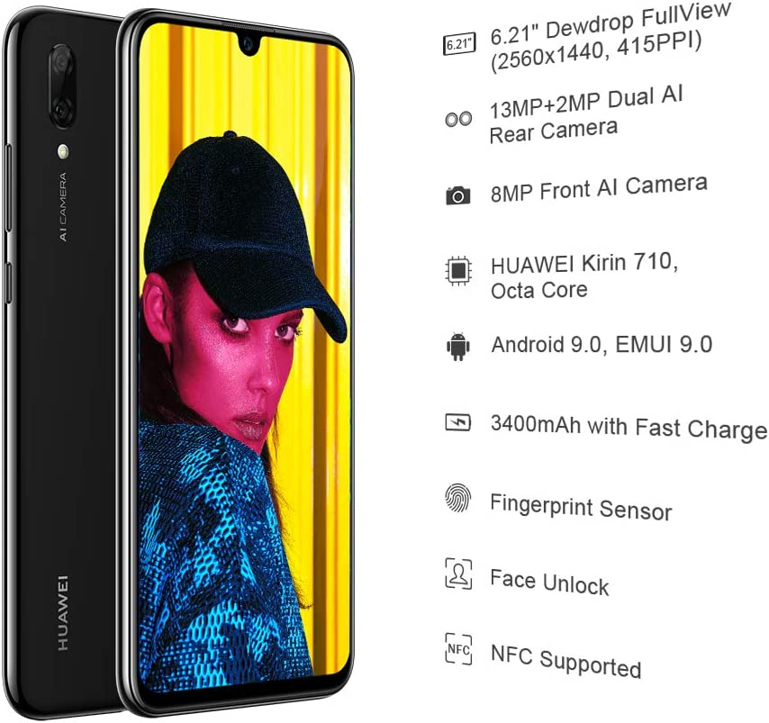 Huawei Smart 2019 21-Inch FullView Dewdrop SIM-Free Smartphone with Dual Camera Android Single SIM Version Black