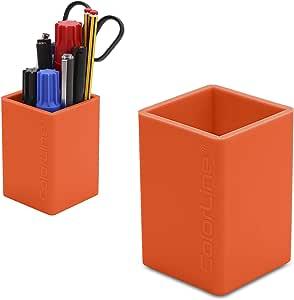 PracticOffice - Cubilete Porta Lápices de Silicona Ultra Soft. Flexible y Resistente. Color Naranja: Amazon.es: Oficina y papelería