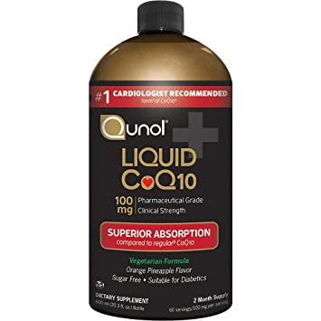 Qunol Liquid CoQ10 100mg, Superior Absorption Natural Supplement Form of Coenzyme Q10, Antioxidant for Heart Health, Orange Pineapple Flavored, 60 ...