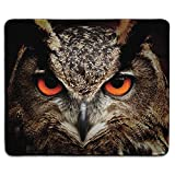 dealzEpic - Animal Art Mousepad - Natural Rubber Mouse Pad Printed with Great Horned Owl Staring with Red Eyes - Stitched Edges - 9.5x7.9 inches