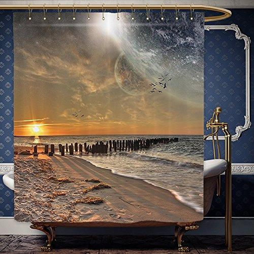 Eclipse Hot Tub (Wanranhome Custom-made shower curtain Space Magical Solar Eclipse on Beach Ocean with Horizon Sun Moon Globe Gulls Flying View Cream Orange For Bathroom Decoration 69 x 90 inches)