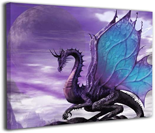 Wall Art Home Decor Poster Dragon Art Print // Canvas Print M