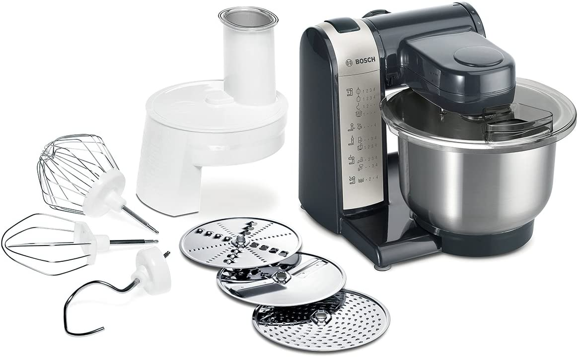Bosch MUM48A1 - Robot de cocina, 600 W, capacidad de 3.9 litros, 4 velocidades, color gris y antracita