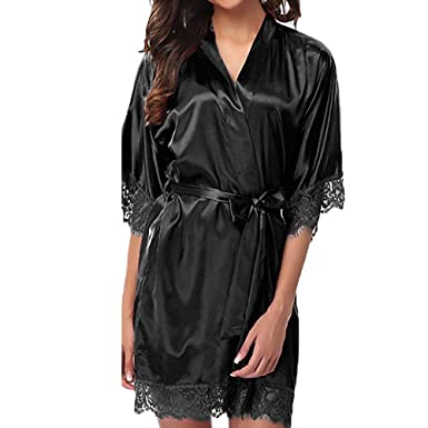 Gran tamaño de Las Mujeres de Color sólido Ding satén Correa camisón Pijamas Vestido Mujer Kimono Ropa Interior de satén Corto Encaje Kimono Raso Bata de ...