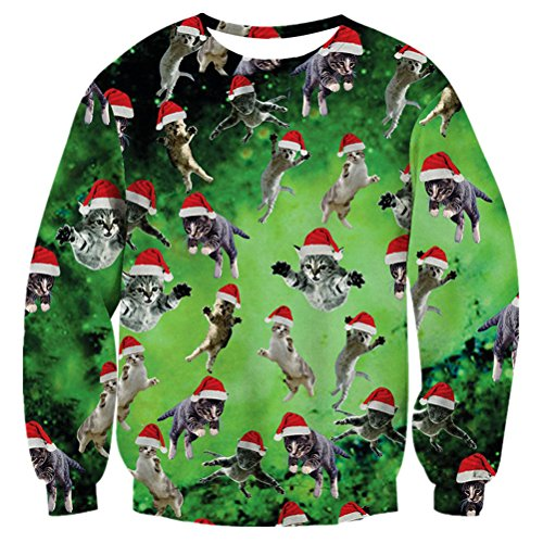 RAISEVERN Unisex Green Galaxy Space Ugly Christmas Santa Cat Print Pullover Sweater Sweatshirt For Holiday Daily Wear, 2017 Style Christmas Cat 5, XX-Large