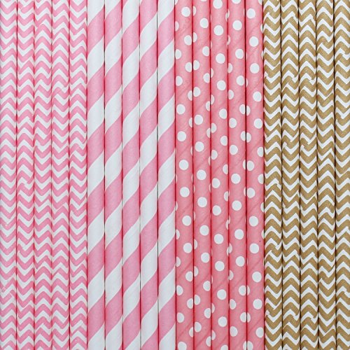 Ldoux 100 Pcs Biodegradable Paper Straws for Birthdays, Weddings, Baby Showers, Celebrations and Parties, Gold and Pink Pattern