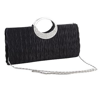 Diamanté Ridé Sac de Soirée Pochette à Main Avec Chaîne Classique Femme  (Noir) d19d36dac8a