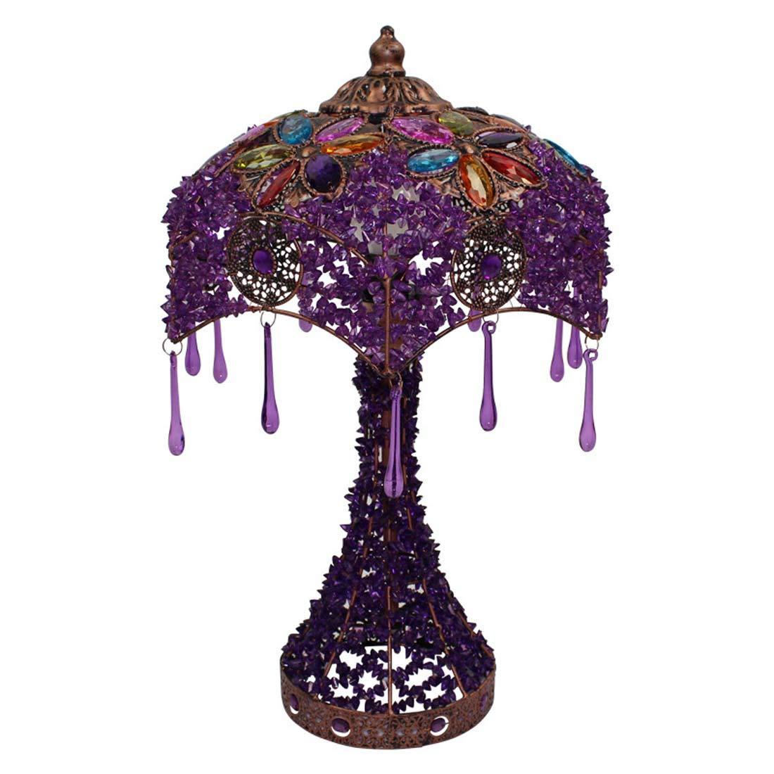 Europäischen Stil Tischlampe, Garten Lampe Lila Romantische Tischlampe Schlafzimmer Nachttischlampe Dressing Tischlampe XIAOXIAO (Farbe   lila dimmer switch)