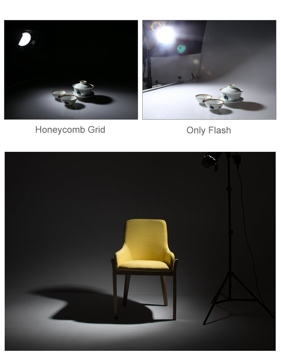 Ultrapure BD-04 Barn Door Honeycomb Grid 4 Color Filter + Bowens Mount Reflector for Studio Flash by Ultrapure (Image #8)